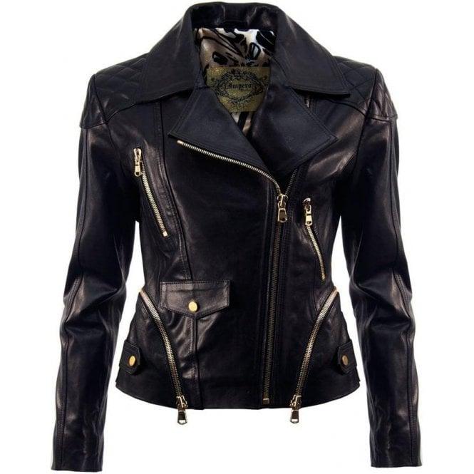 d9898441a386c Ladies Black Leather Lambskin Luxury Biker Moto Jacket Zip Details