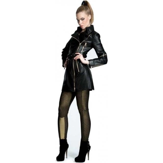 50f9f1cb2 Ladies Luxury Black Leather Biker Trench Coat