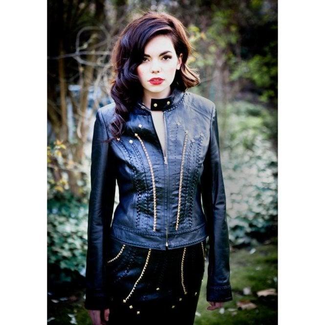 d144a554e Ladies Luxury Black Leather Gold Chain Trim Biker Jacket