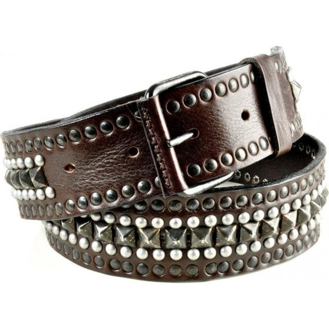Impero London Leather Brown Stud & Pyramid Belt - Mens Belts from Impero  London UK